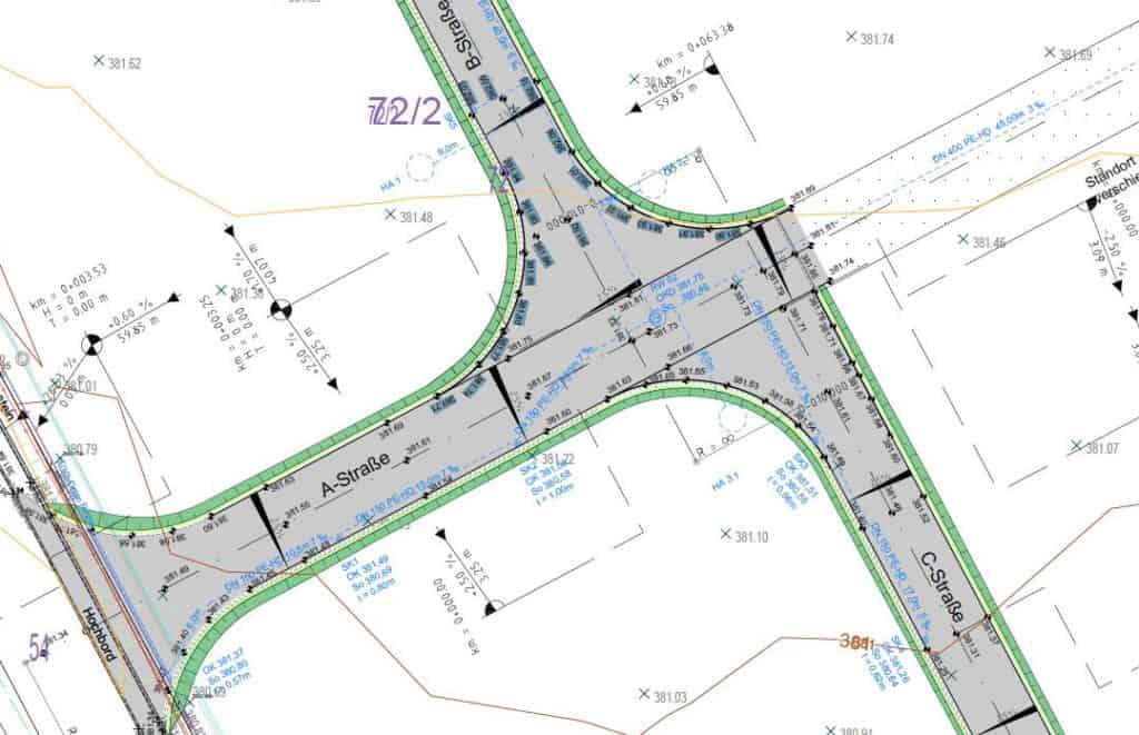 Straßenbauplan