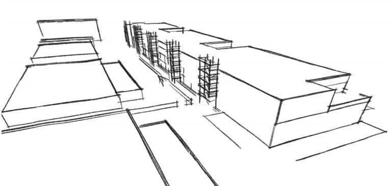 Skizze Architektur Gebäude