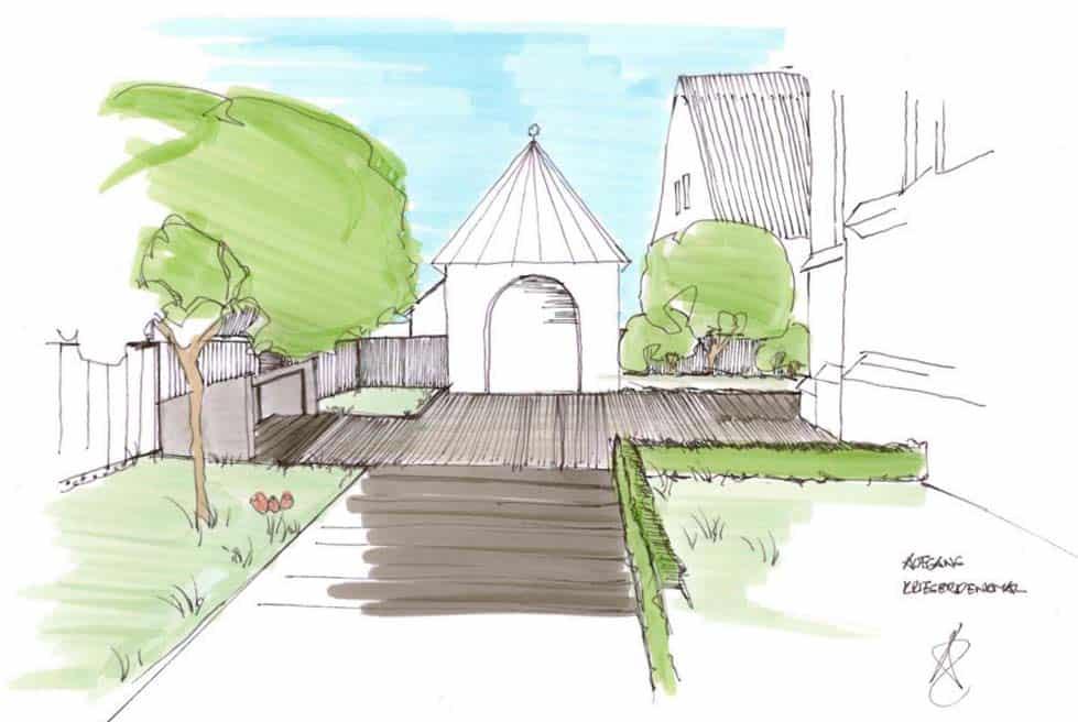 Architektur Landschaftsarchitekt Skizze Aufgang Kriegerdenkmal